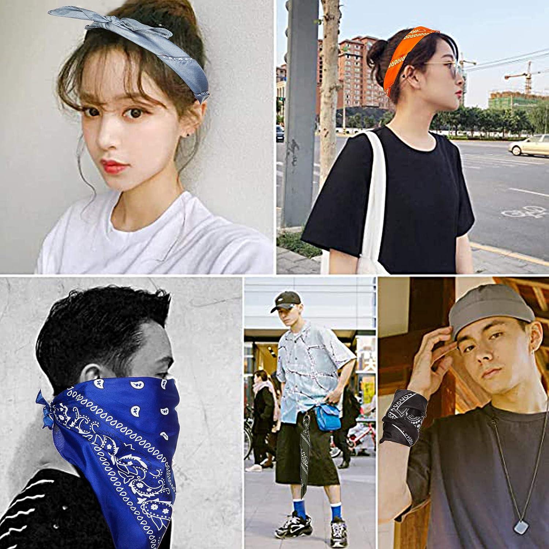 14Pcs Headbands Bandanas For Women and Men Novelty Cowboy Bandana Scarfs Headwraps Paisley Print