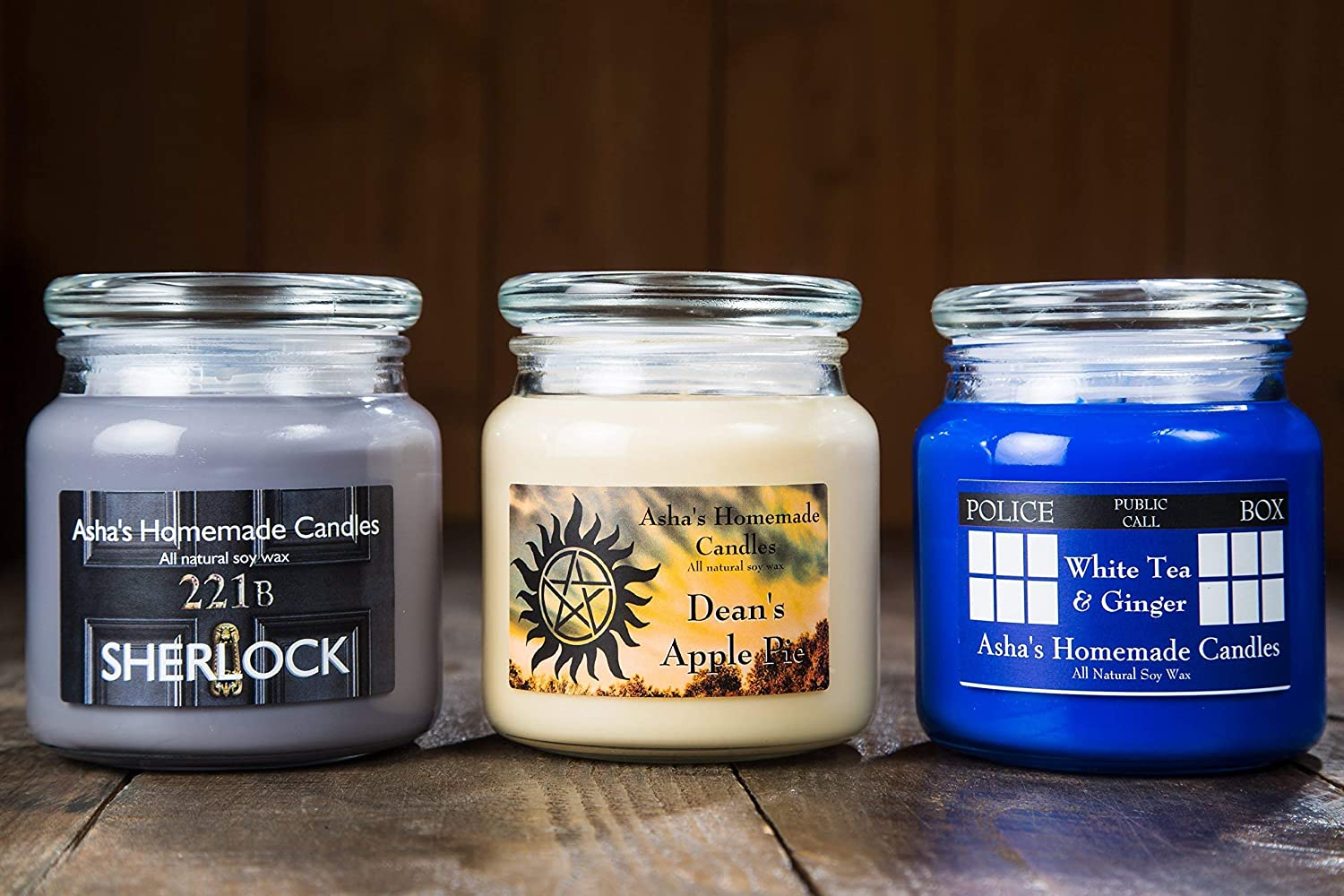 Geek Soy Candles Choose your scents! - 16 oz Apothecary Jars Set of 3