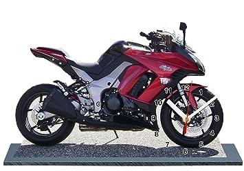 Moto Kawasaki Ninja Z1000 Sx Rouge En Horloge Miniature Sur Socle 12