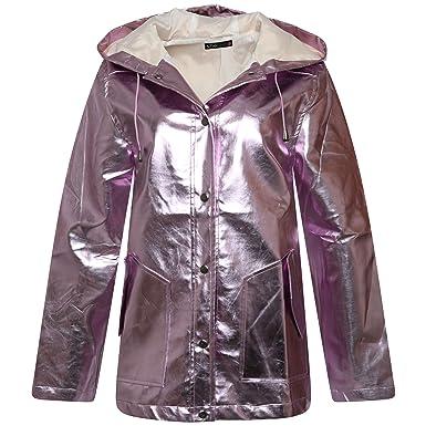 5a03d61cc4a2 New Womens Silver Iridescent Pearlescent Waterproof Festival Rave Rain Mac  (8