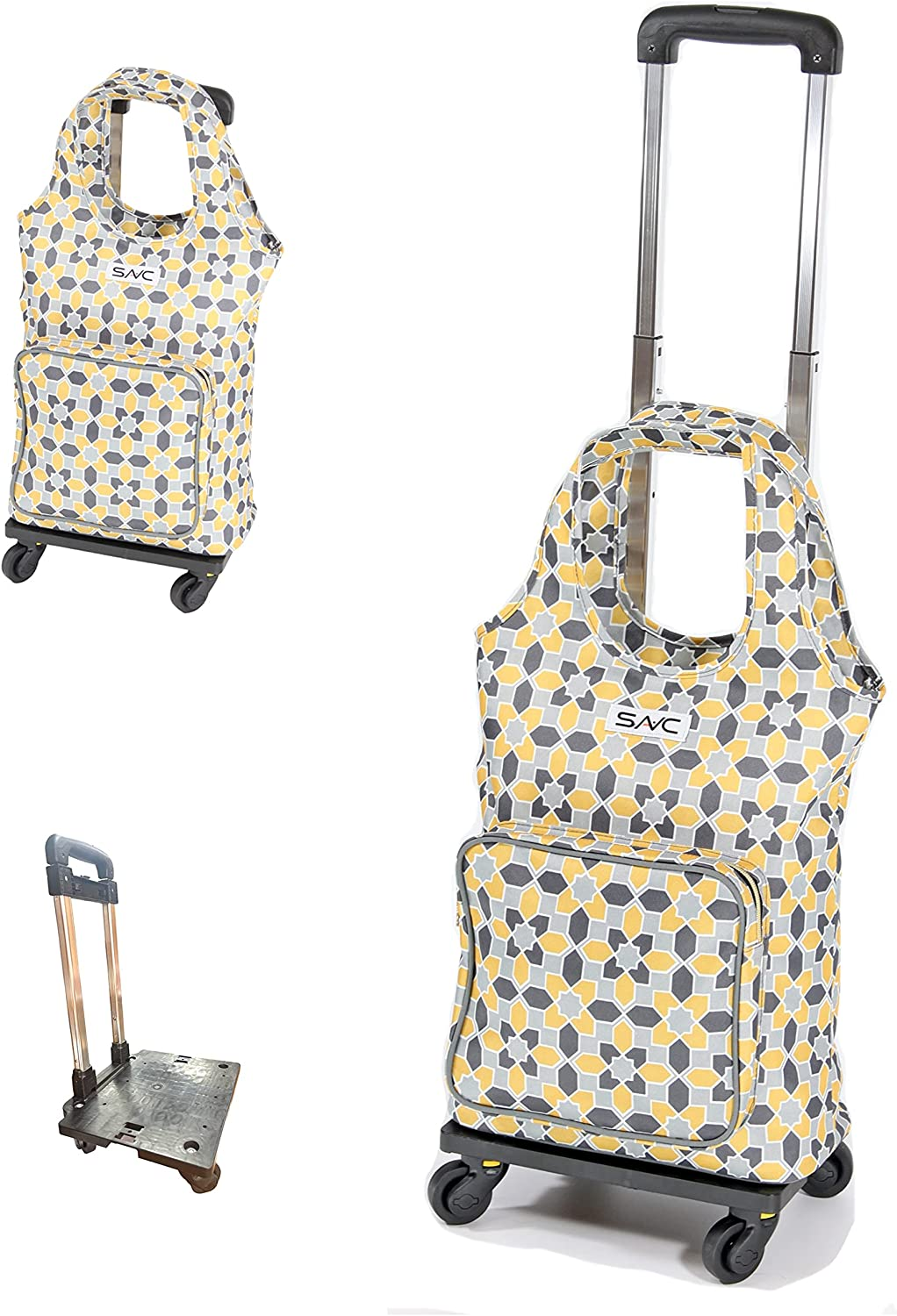 SAVC insulated shopping bag with wheels for Groceries & Food Delivery, Eco Friendly Heavy Duty & Sturdy Zippered. Good for BBQ/Outdoors/Party/Picnic/Shopping/Supermarket.
