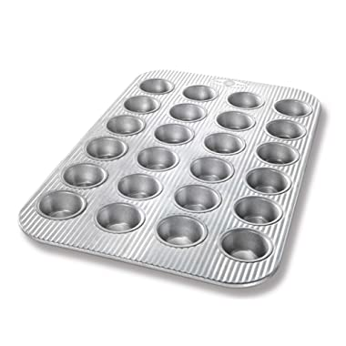 USA Pan Bakeware Mini Cupcake and Muffin Pan, 24 Well, Nonstick & Quick Release Coating, Made in the USA from Aluminized Steel