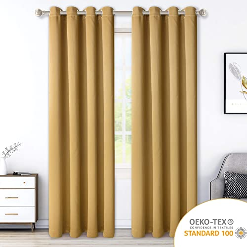 LORDTEX Blackout Curtains for Bedroom – Thermal Insulated Curtains with Grommet Top Room Darkening Noise Reducing Window Drapes for Living Room, 2 Panels, Honey Gold, 52×84 inch