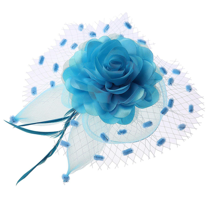 Ahugehome Women Fascinator Hair Clip Headband Veil Flower Cocktail Tea Party Headwear