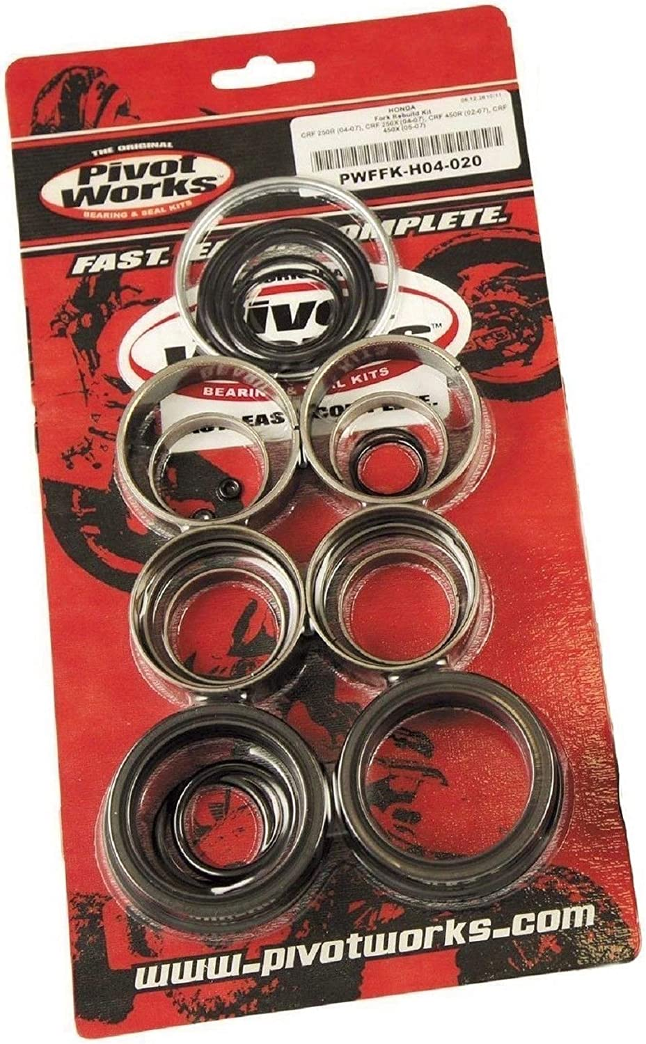 Pivot Works Fork Seal And Bushing Kit Seal/Bushing Forks For Honda CRF250R 2004-2009 / CRF250X 2004-2009 / CRF450R 2002-2008 / CRF450X 2005-2009 - PWFFK-H04-020