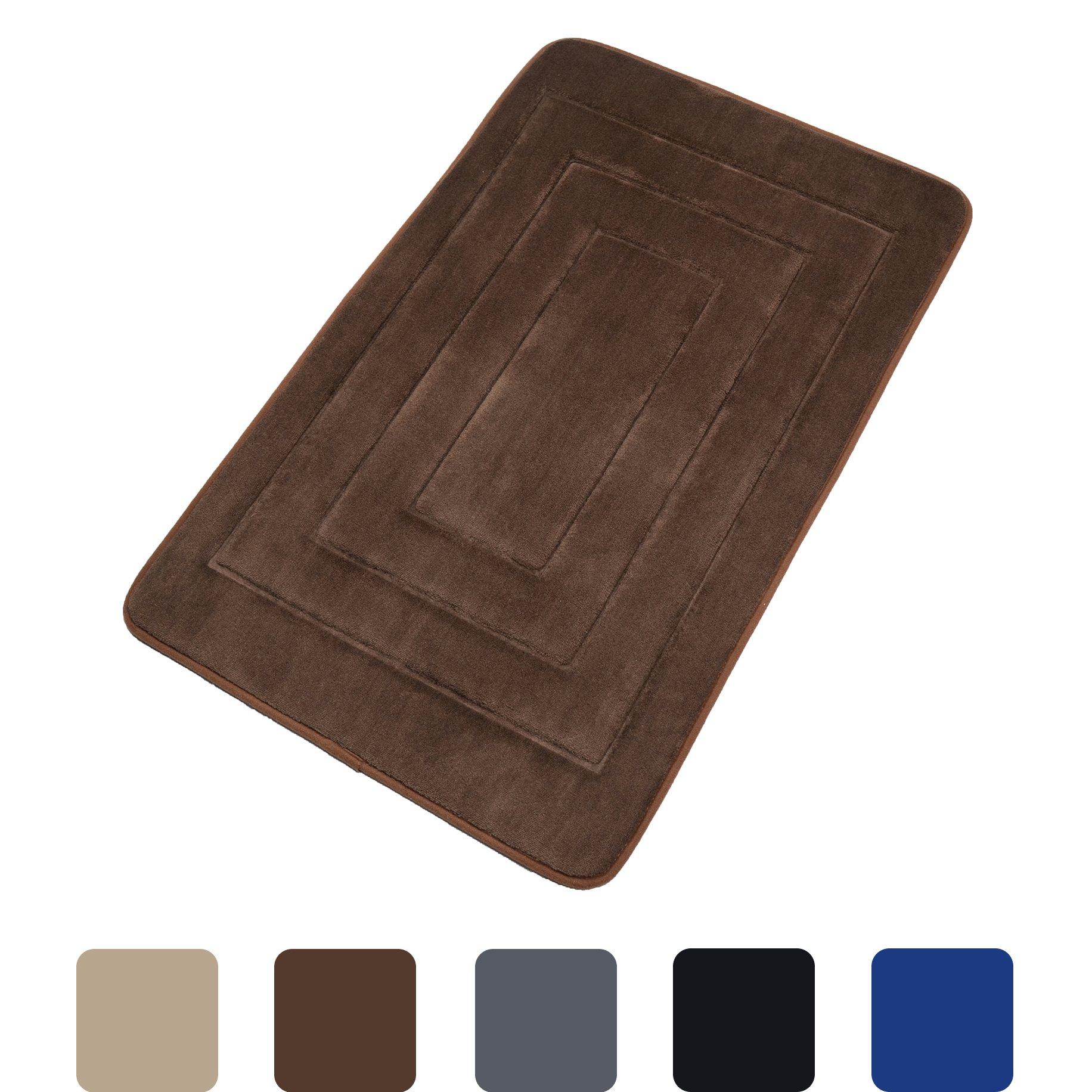 Elegant Bath Mat Soft Bathroom Rugs Non-slip Rubber Shower Rugs Comfortable Coral Velvet Bathroom Mat (20'' x 32'' Rectangle, Brown)