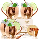 The Best Moscow Mule Mugs -Set Of 4-, Made of REAL 100% Pure Copper Guaranteed, Each mug is HANDCRAFTED and Unique…