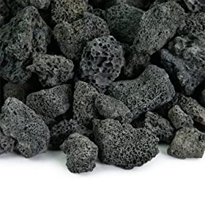 Black 3/4 Inch Lava Rock | Fireproof and Heatproof Volcanic Lava Rock, Perfect for Fire Pits, Fireplaces, BBQs and More. Indoor and Outdoor use - Natural Stones | 10 Pounds