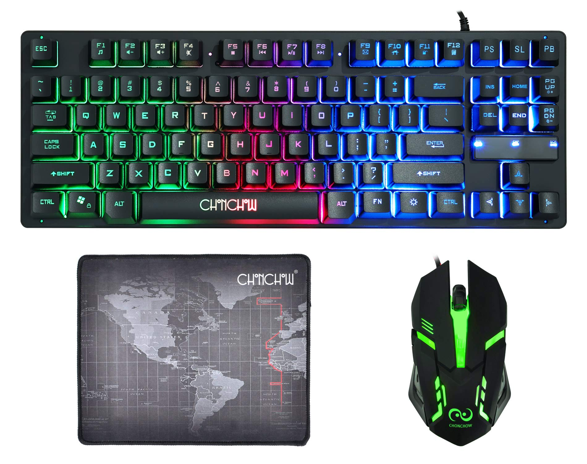 CHONCHOW Rainbow LED Backlit Mechanical Gaming Keyboard and Mouse Combo Wired USB Compact 87-Keys Blue Switches Mechanical RGB Gaming Keyboard and Mouse Compatible with Windows PC Gamers Black