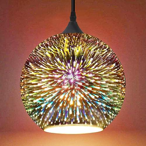 FRIDEKO HOME Industrial Modern 3D Colourfull Glass Pendant Light 11.8 inch Fireworks Globe Style Hanging Lamp Creative Lighting Fixture