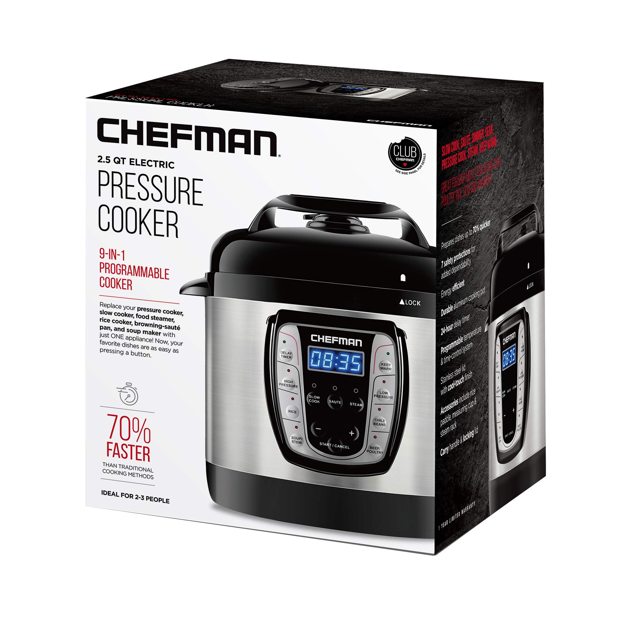 Chefman 2.5 Qt. Electric Pressure Programmable Multicooker, Prepare Dishes in an Instant, Aluminum Pot Multifunctional Slow, Rice Cooker/Steamer, Sauté, Soup Maker by Chefman (Image #9)