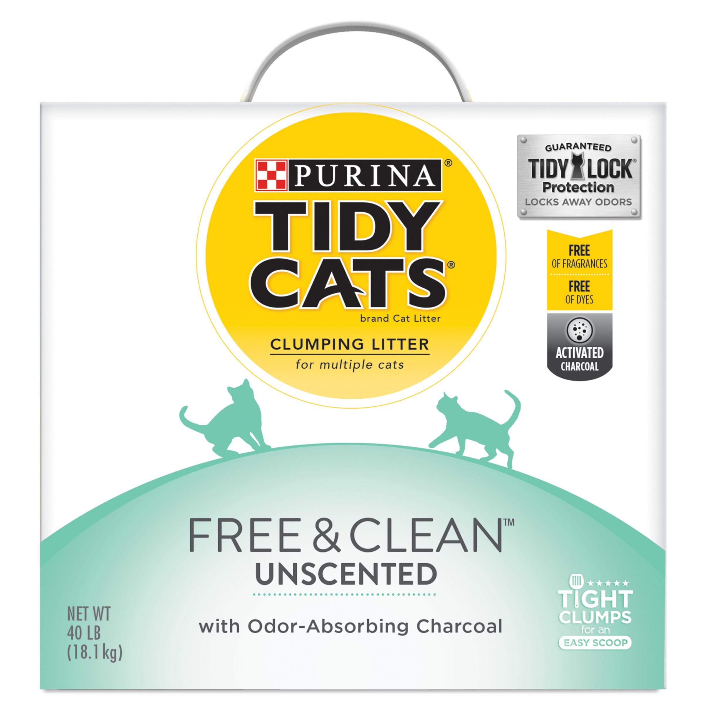 Purina Tidy Cats Clumping Cat Litter, Free & Clean Unscented Multi Cat Litter - 40 lb. Box by Purina Tidy Cats