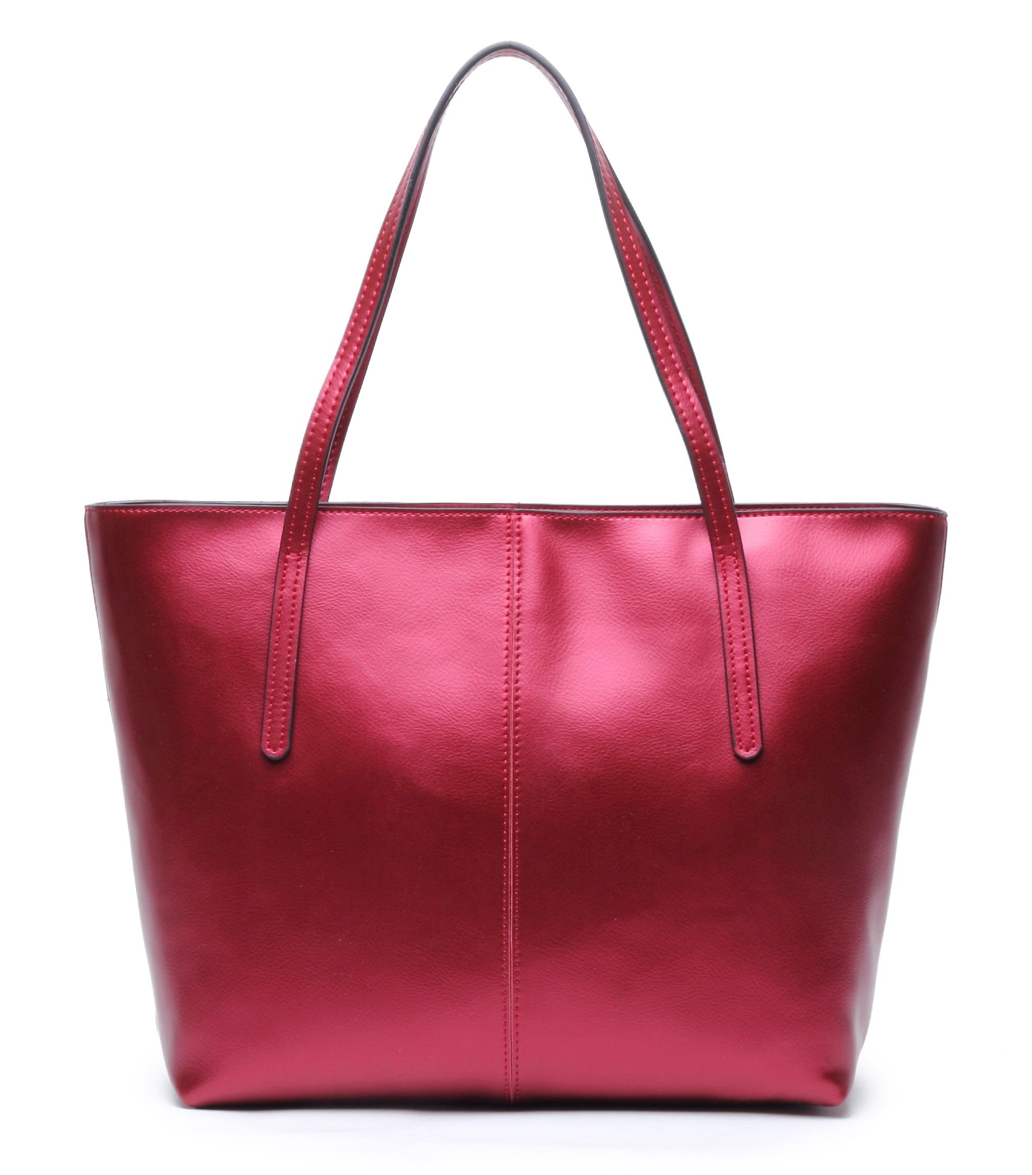 CHERRY CHICK Women's Durable Soft Genuine Leather Tote Bag-Ladies' Stylish Shoulder Bag Big Purse (Shiny Watermelon) by CHERRY CHICK