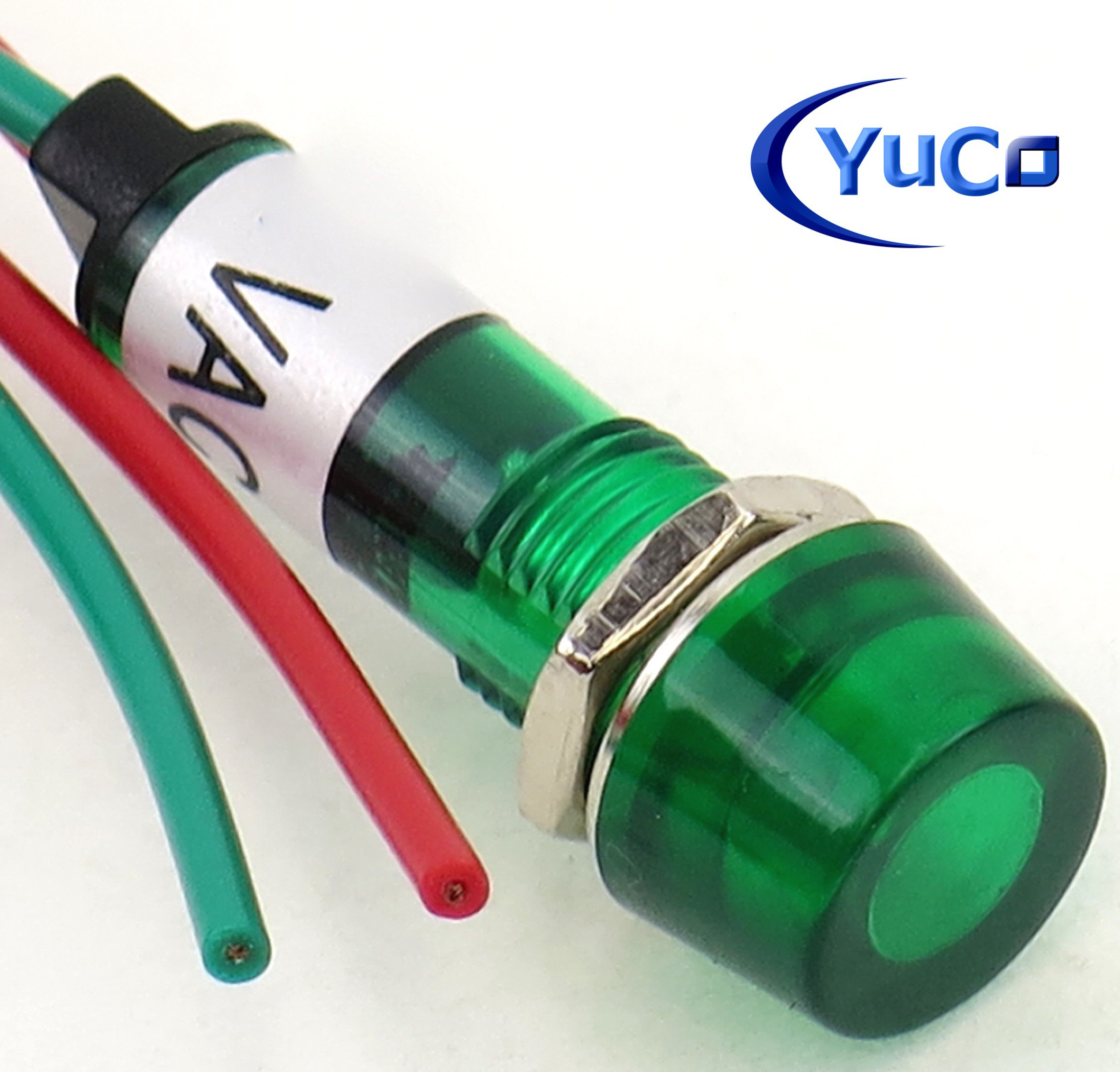 Yuco YC-9WRT-1G-24-10 Mini Indicator Light 9mm Cylindrical Cap Wire-Base Ring + Nut AC/DC Pack of 10 (Green, 24V) by Yuco