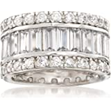 Ross-Simons 6.95 ct. t.w. Baguette and Round CZ Eternity Band in Sterling Silver