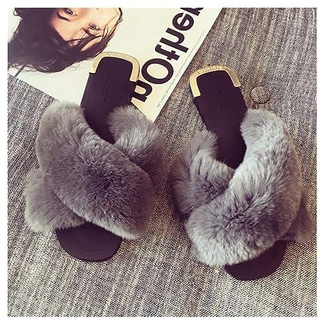 OMFGOD Señoras Moda Zapatillas Comodidad Peletería Artificial Cross Cuero Goma Talón Plano Interiores Exteriores Zapatos,