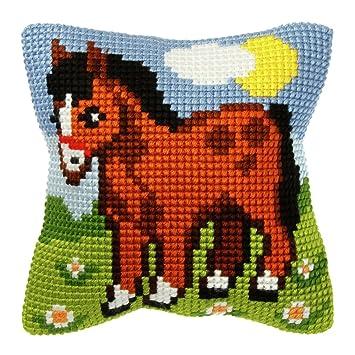 Amazon.com: Kit de punto de cruz: cojín: caballo: Arte ...
