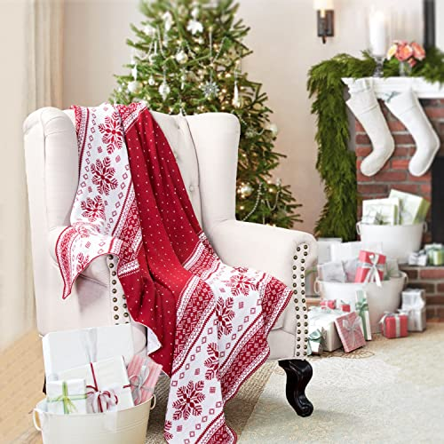 Knitted Throw Blanket for Sofa and Couch, Lightweight, Soft & Cozy Knit Christmas Throws - Red & White, 50