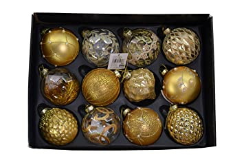 Weihnachtskugeln Rot Gold.Mc Trend 12er Set Edle Luxus Glas Weihnachtskugeln ø 8cm Weihnachtsbaum Kugeln Christbaumkugeln Weihnachts Deko Rot Gold Silber Klar Gold