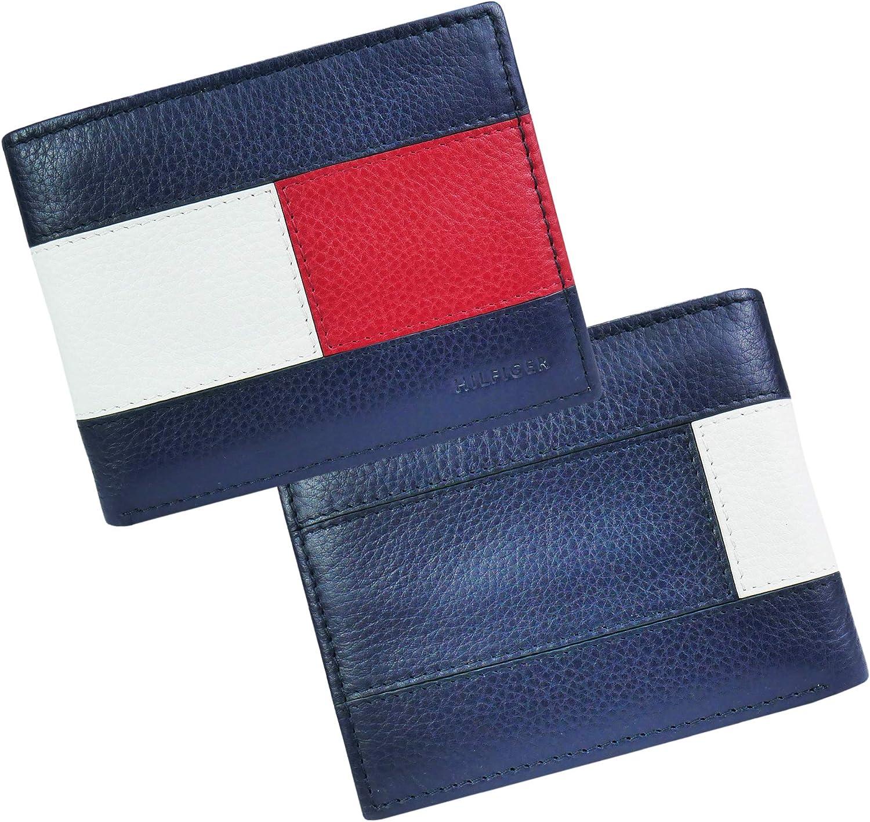 Tommy Hilfiger Portefeuille /à Double Rabat RFID pour Homme Rouge//Blanc//Bleu Taille Unique