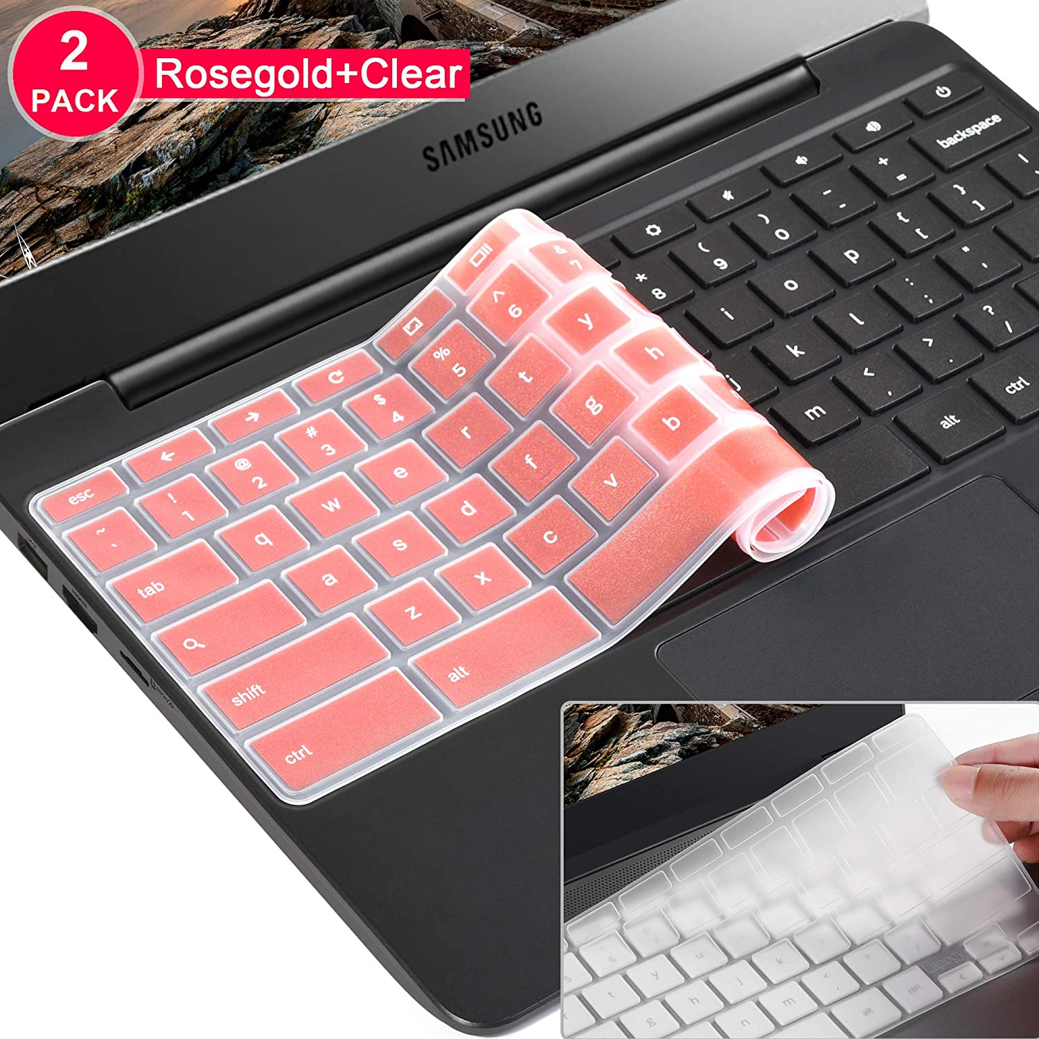 [2 Pack]Samsung chromebook 4 keyboard cover skin for Samsung Chromebook 11.6/15.6 inch Chromebook 2 XE500C12, Chromebook 3 XE500C13,Chromebook Plus V2 2-in-1 XE520QAB 12.2(Clear and pink)