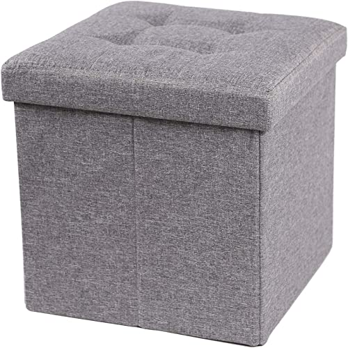 CAMPMOON 15 Storage Ottoman Cube Seat with Lid, Foldable Gray Small Ottoman Foot Rest for Dorm Office Bedroom, Linen