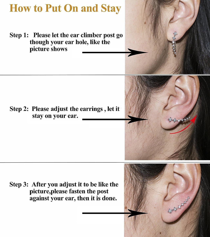 Amazoncom Cishop7 Stars Black Cz Simulated Diamond Stud Ear Cuff