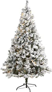 Nearly Natural 7ft. Flocked White River Mountain Pine Artificial Christmas Tree with Pinecones and 350 LED Lights, Green