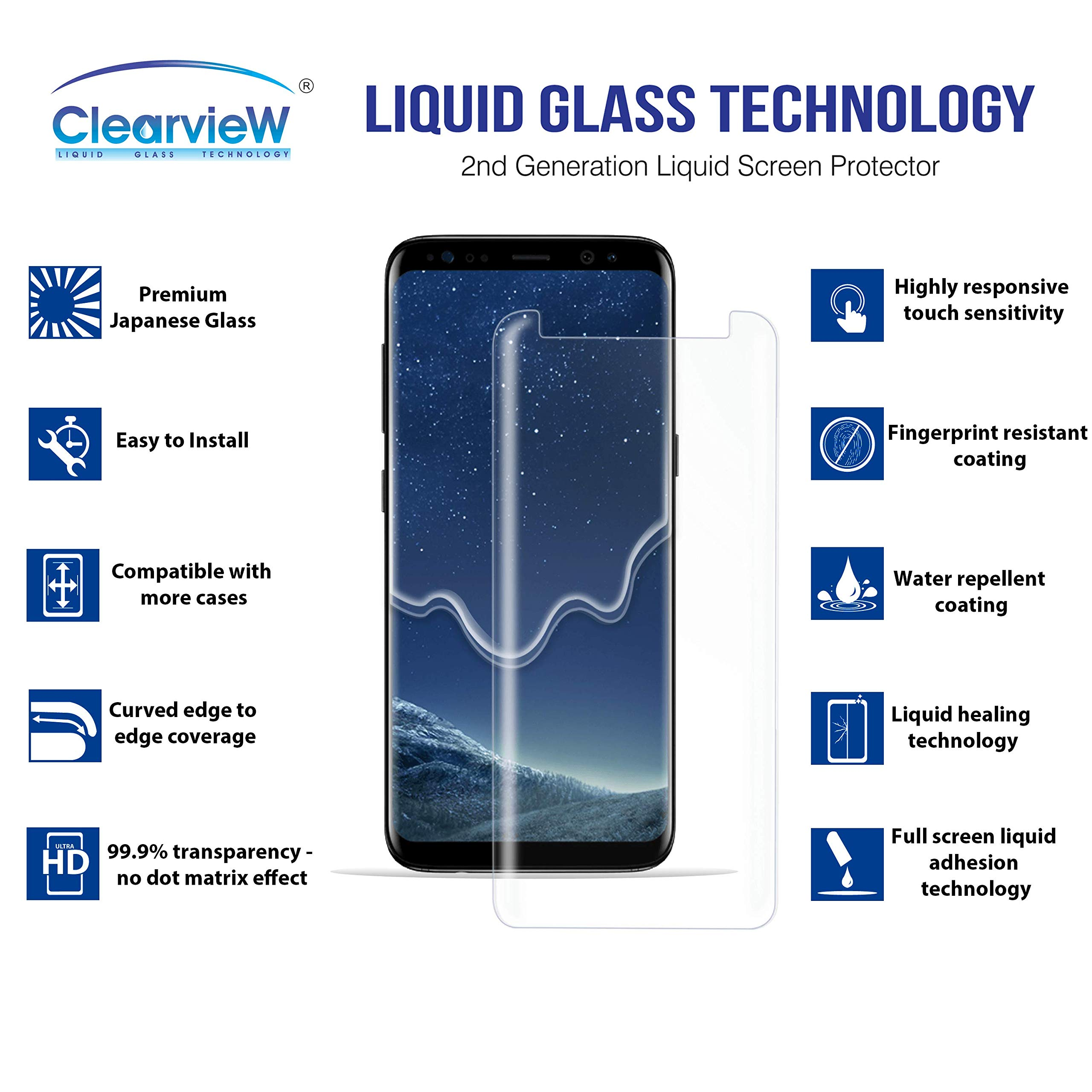 Clearview Samsung Galaxy S8 Liquid Tempered Glass Screen Protector - 9H Ultra Clear HD Japanese Glass, Full Screen Edge Coverage, Easy Install, Loca UV Light, Case Friendly (Full Kit) by Clearview (Image #2)
