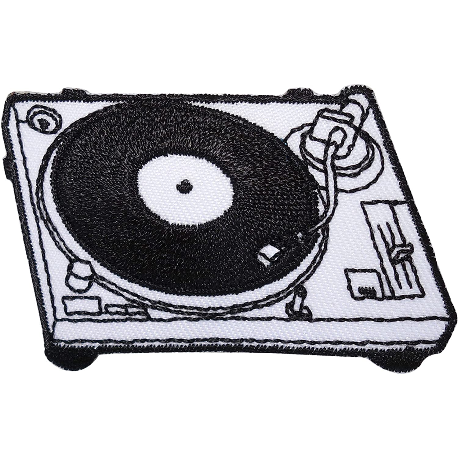 DJ Deck Turntable Embroidered Iron Sew On Patch Record Player Bag Clothes Badge ELLU