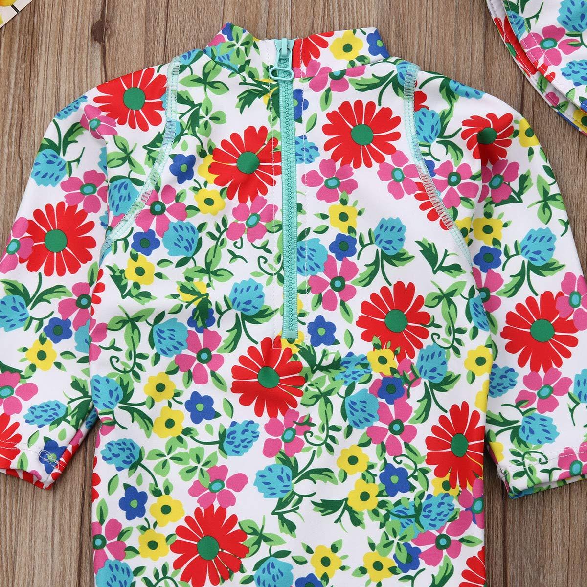 Douhoow Unisex Baby Boy Girl Rashguard T-Shirt Swimsuit Cover Up Sunsuit with Cap Hat