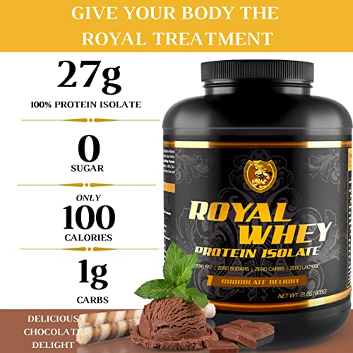 RSN Royal 100 Isolate Protein Powder 27g Protein Isolate 0 Sugar 1g Carbs 5 lbs 76 Servings Chocolate Delight