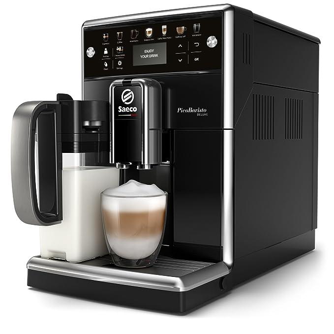 Philips Saeco PicoBaristo Deluxe SM5570/10 - Cafetera Súper Automática, 13 Bebidas de Café Personalizables, Jarra de Leche Integrada, Limpieza ...