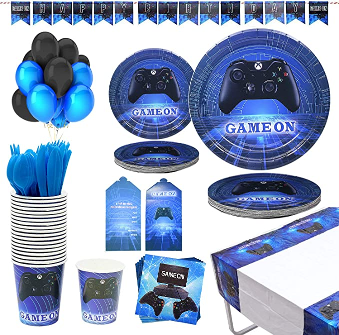 Details about  /Video Game Party Decorations for Boys birthday Gaming Party Supplies for 16 Gues