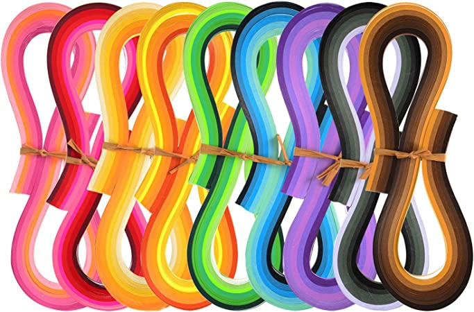Quilling Carta Strisce di Filigrana Arte 1080 Strisce 44 Colori Set di Quilling Carta 3 mm di Larghezza 54 cm di Lunghezza