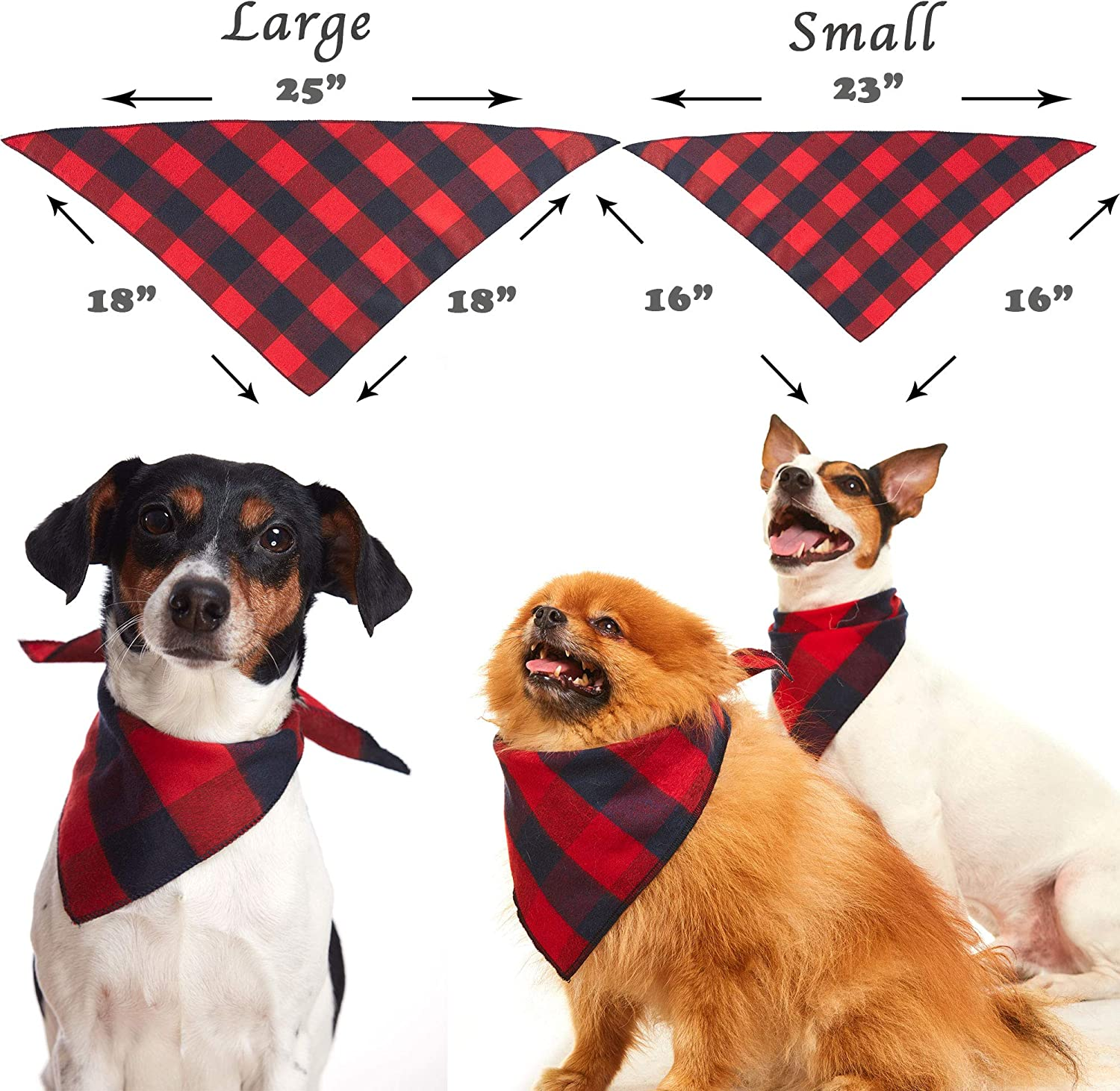 Odi Style Buffalo Plaid Dog Bandana 4 Pack Red Green Blue and Navy Blue Cotton Bandanas Handkerchiefs Scarfs Triangle Bibs Accessories for Small Medium Large Dogs Puppies Pets Black and White