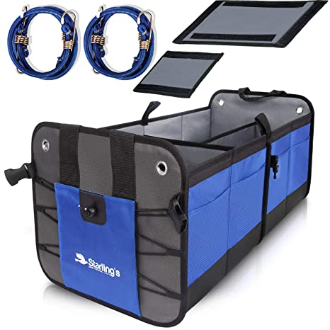 Suv Cargo Organizer >> Starling S Car Trunk Organizer Durable Storage Suv Cargo Organizer Adjustable Blue