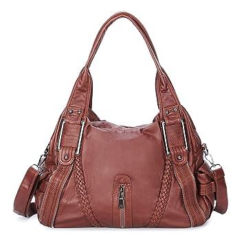 weiches Kunstleder viele Fächer Damenhandtasche Handtasche in Braun Weiß