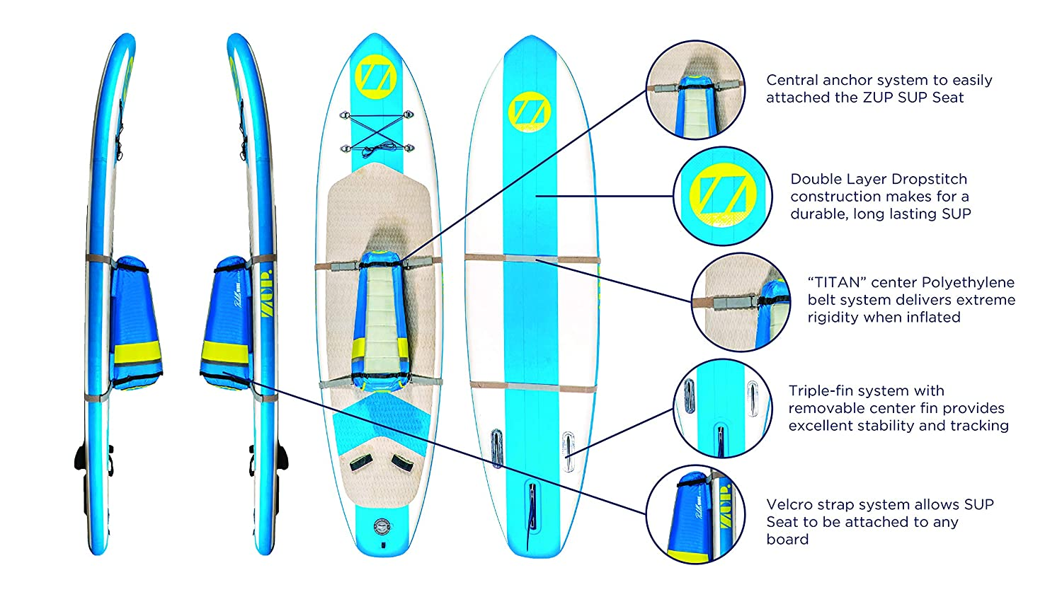 Amazon.com: ZUP Boomer iSup, PaddleMore SUP Board and Seat ...