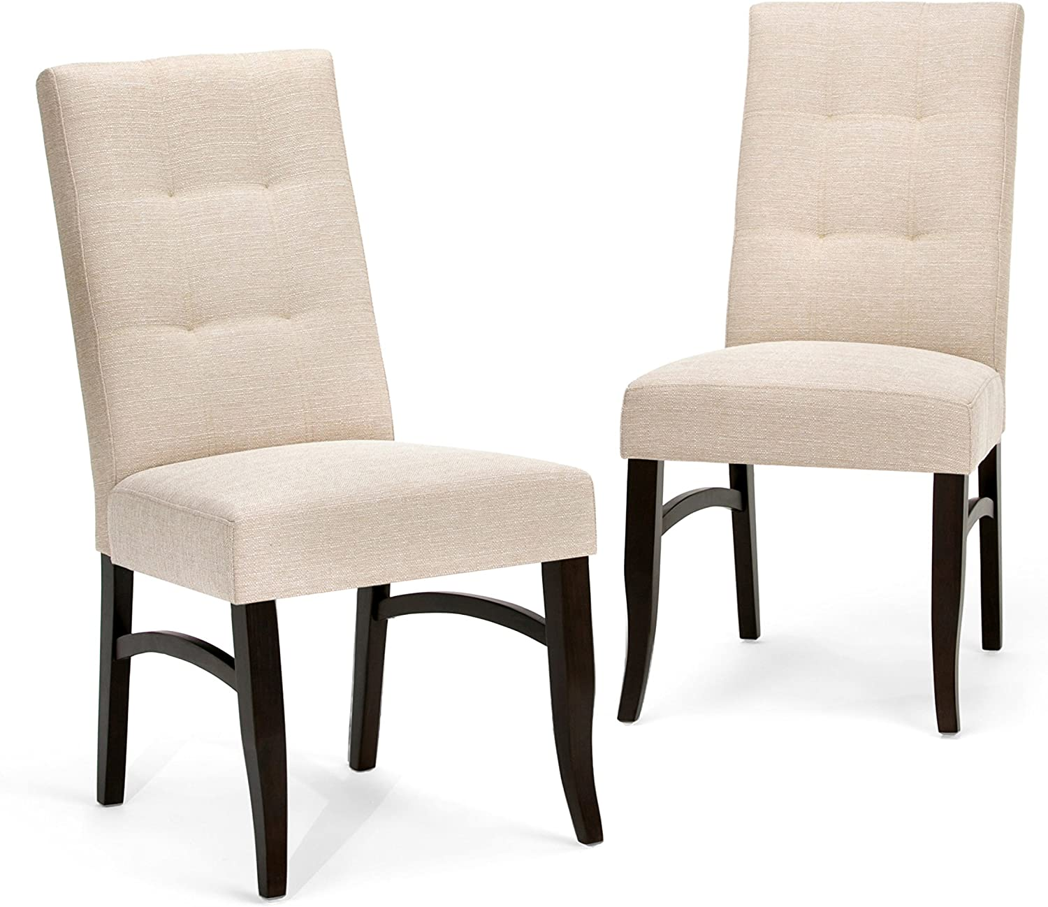 SIMPLIHOME Ezra Contemporary Deluxe Dining Chair (Set of 2) in Natural Linen Look Fabric