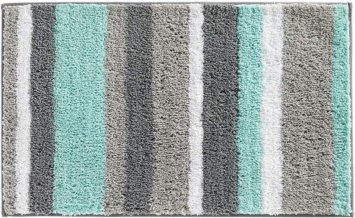 "HEBE Non-Slip Bathroom Rug Mat Shag Microfiber Shower Bath Rug Absorbent Bath Mat for Bathroom Machine Washable 18""x26"": Home & Kitchen"