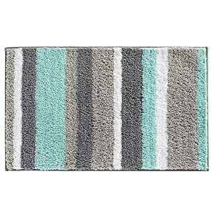 "HEBE Non-Slip Bathroom Rug Mat Shag Microfiber Shower Bath Rug Absorbent Bath Mat for Bathroom Machine Washable(18×26"", Blue/Grey)"