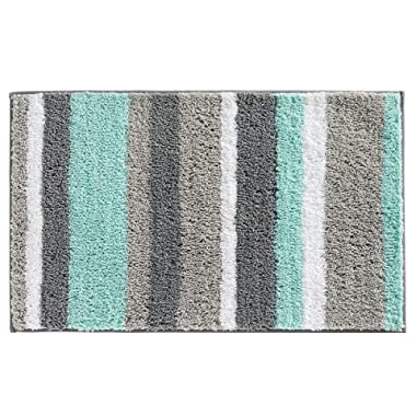 HEBE Non-Slip Bathroom Rug Mat Shag Microfiber Shower Bath Rug Absorbent Bath Mat for Bathroom Machine Washable(18x26, Blue/Grey)