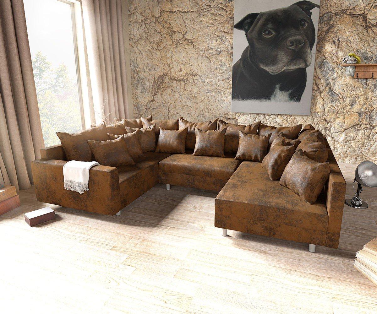 Couch Clovis Braun Antik Optik Mit Armlehne Wohnlandschaft Modular