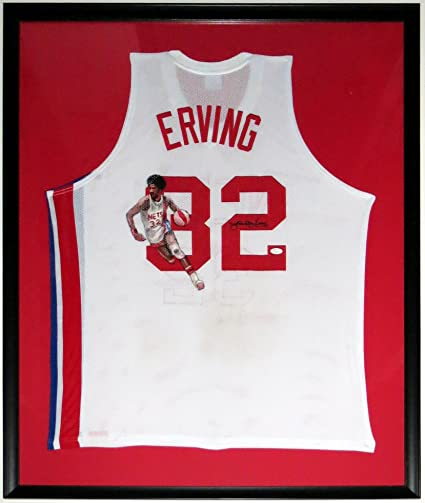 new style f08a0 e3255 Julius Erving Dr. J Signed L Adidas Nets Throwback Jersey ...