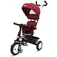 Baybee Mario Sportz - The Stylish Plug and Play Baby Tricycle with Canopy and Parent Control (Now with Rubber Wheels) ( Red )