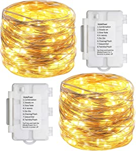 Koopower 2 Pack 33ft 100 Led Fairy Lights 8 Modes with Timer Twinkle Lights Indoor/Outdoor Waterproof Battery Operated Silver Fairy String Lights for Bedroom, Gardens, Gate, Yard, Party, Wedding, Xmas
