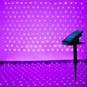YAOZHOU Mesh Net Christmas Lights Solar Powered 8 Modes Purple 9.8FtX6.6Ft 204LED Window Fairy Decor Lights for Christmas,Holiday,Party,Outdoor,Wedding,Garden(Purple)