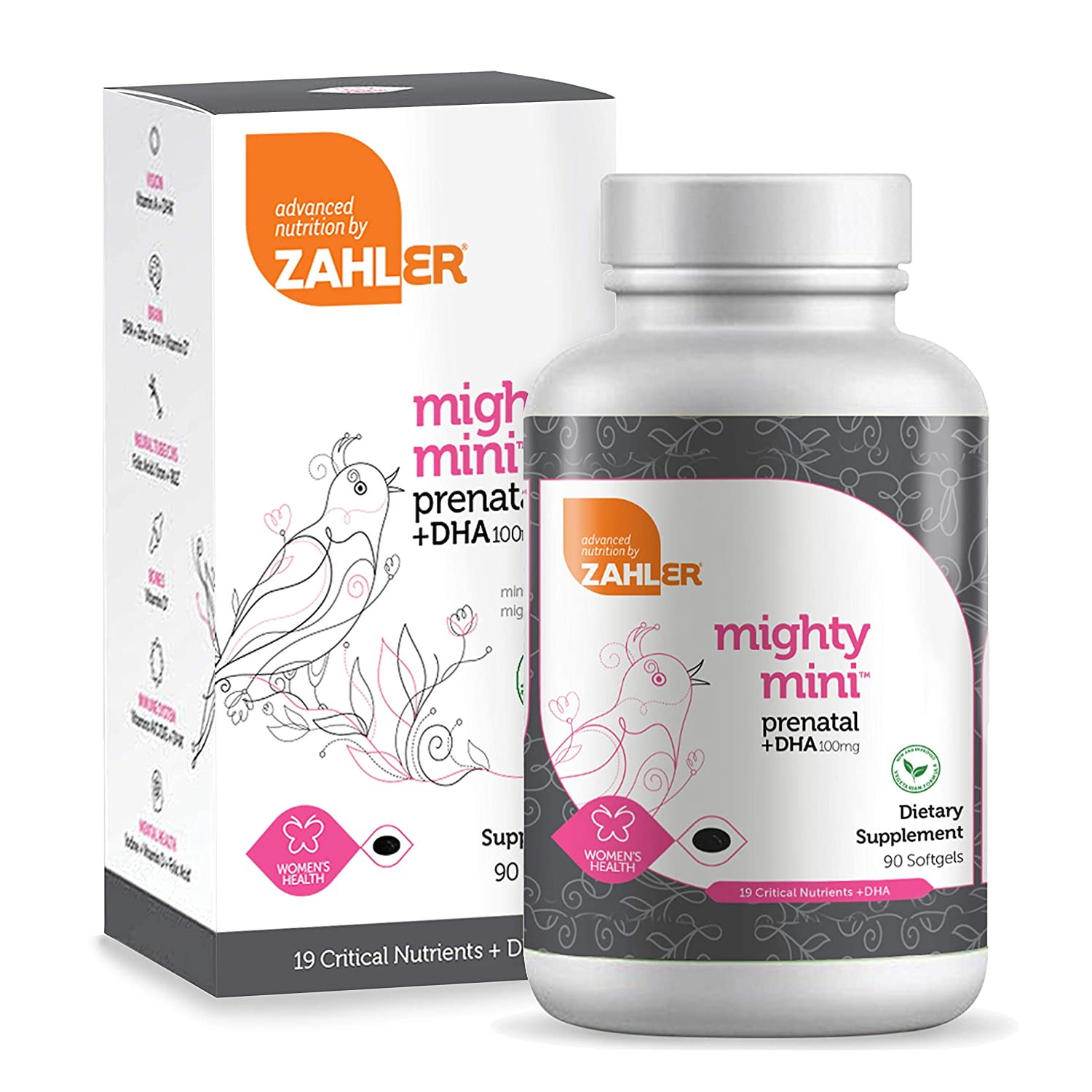 Zahler Mighty Mini Prenatal DHA, One a Day Complete Prenatal Vitamins for Mother and Child, Prenatal with DHA Supports Brain Development in Babies, Certified Kosher, 90 Softgels