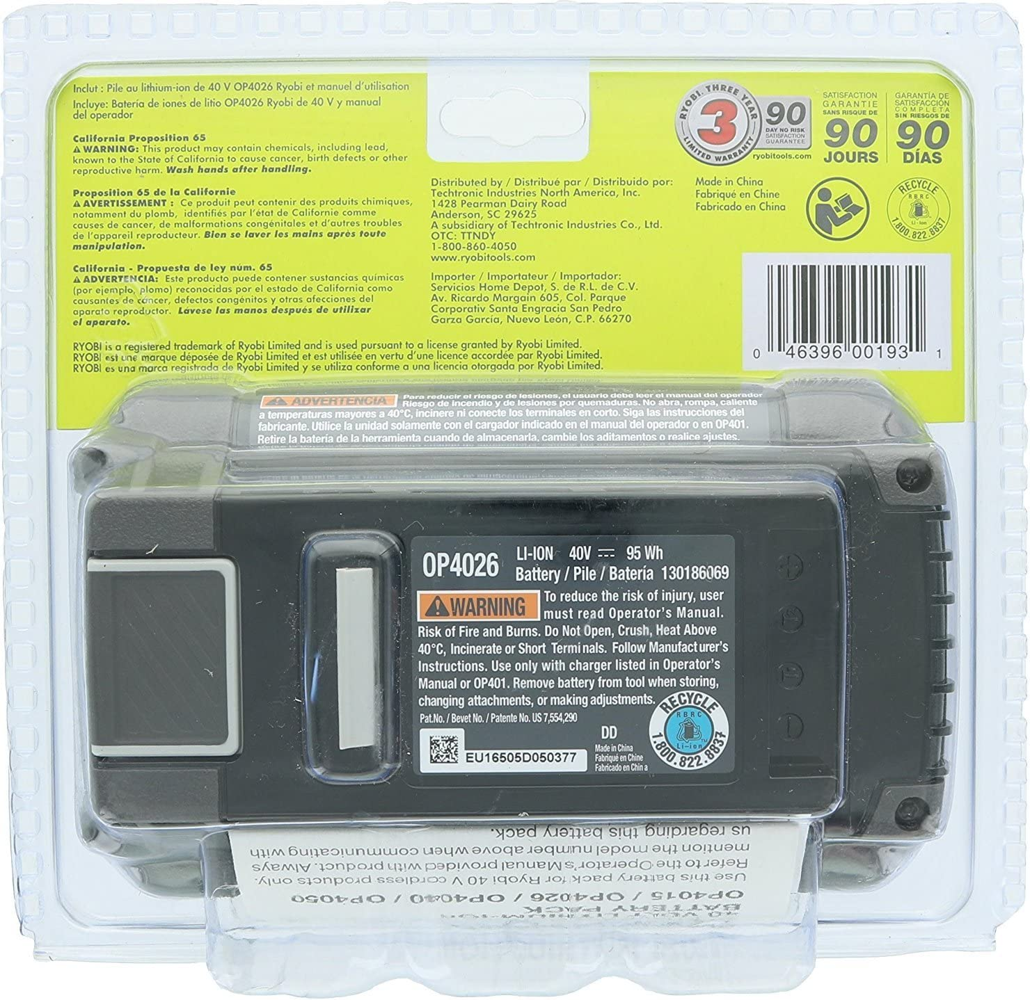 Amazon.com: Ryobi OP4026 A Original de OEM 40 V batería de ...
